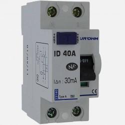 Interrupteur différentiel type A 40A 30 ma connexion à vis - Eurohm