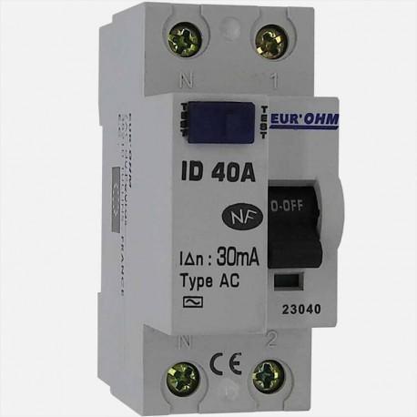 Interrupteur différentiel type AC 40A 30 ma connexion à vis - Eurohm