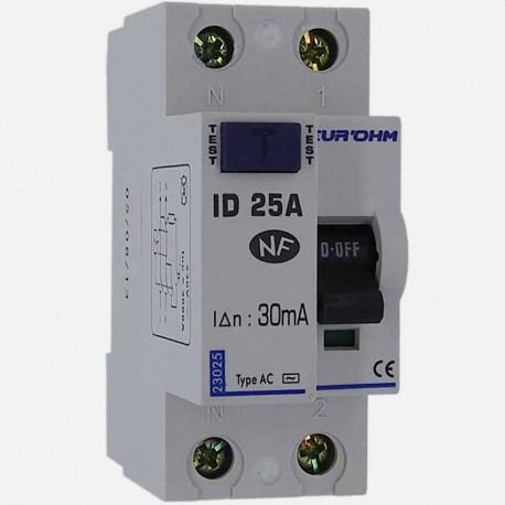 Interrupteur différentiel type AC 25A 30 ma connexion à vis - Eurohm