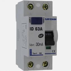 Interrupteur différentiel type A 63A 30 ma connexion à vis - Eurohm
