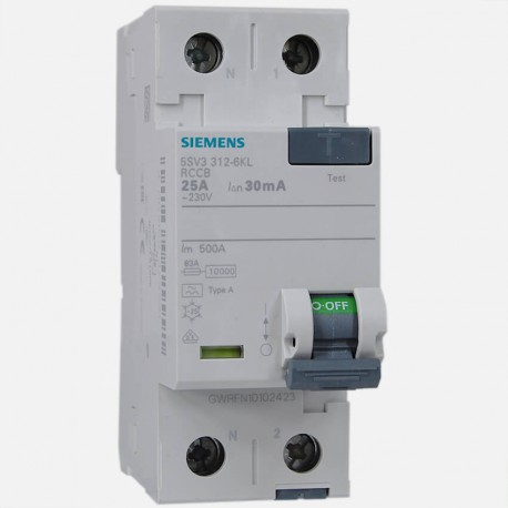 Interrupteur différentiel 5SV3312-6KL 25A-30ma type A Siemens