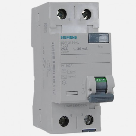 Interrupteur différentiel 5SV4312-0KL 25A-30ma type AC Siemens