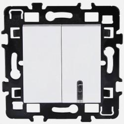 Double bouton poussoir 61815 Eur'ohm série Esprit blanc