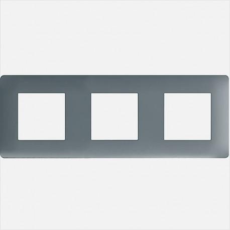 Essensya plaque 3 postes WE423 graphite Hager