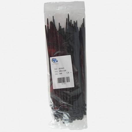 Collier de câblage polyamide noir Elématic 4,8x250 mm sachet de 100 colliers.