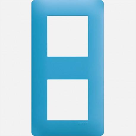 Essensya plaque 2 postes WE442 Bleu émail Hager