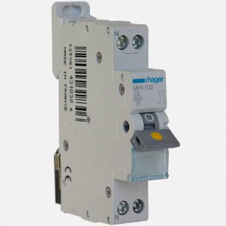 MFN702 Disjoncteur phase neutre 2A à vis Hager