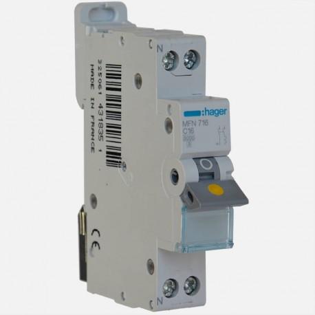 Disjoncteur phase neutre 16A à vis Hager MFN716