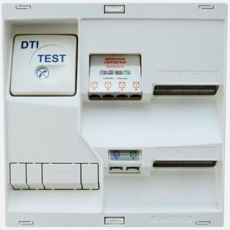 LB218 Coffret de communication Néo grade 2TV - 8 RJ45 + répartiteur TV 4 RJ45