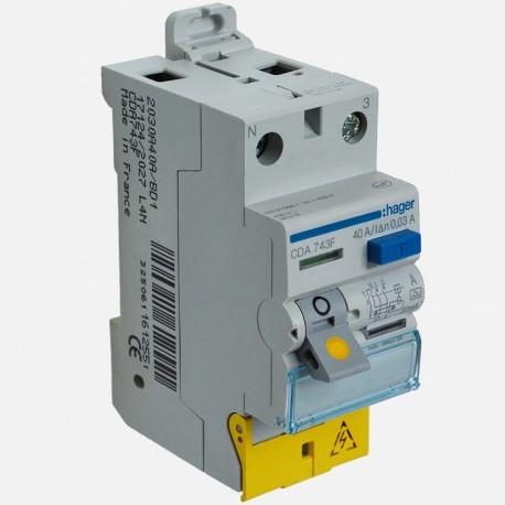 Interrupteur différentiel CDA743F 2P 40A 30ma type A Hager