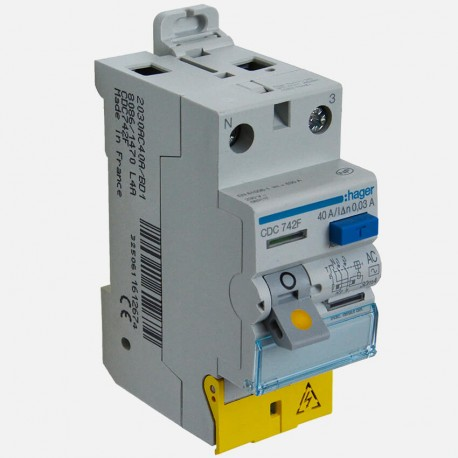 Interrupteur différentiel CDC742F 2P 40A 30ma type AC Hager