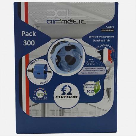Pack de 300 Boîtes 1 poste étanches à l'air - XL air'métic Ø67 mm P40mm + scie cloche