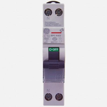 Disjoncteur phase neutre 10A à vis General Electric