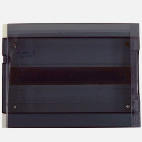 Coffret 1 rangée 18 modules avec porte transparente fumée