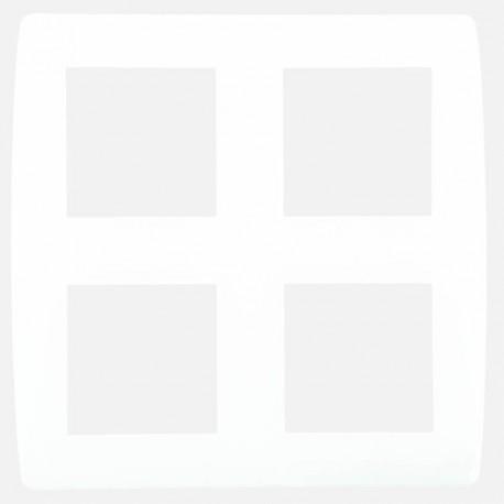 Plaque blanche 2x2 postes entraxe 71 mm Eur'ohm série Esprit blanc