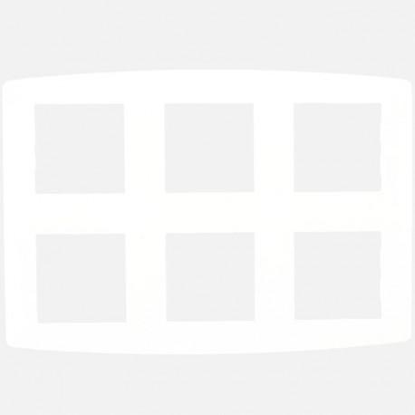 Plaque blanche 3x2 postes entraxe 71 mm Eur'ohm série Esprit blanc
