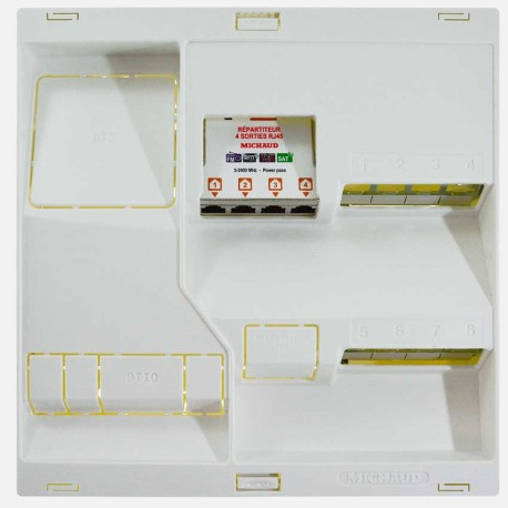 Coffret de communication Néo LB308 grade 3TV - 8 RJ45 Michaud