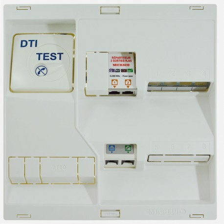 Coffret de communication grade 2TV LB217 Néo - 4 RJ45 Michaud