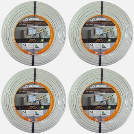 Câble grade 3TV 2200 MHZ 10 Gbit/s R7400A Acome 4 couronnes de 100 mètres