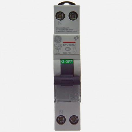 Disjoncteur phase neutre 20A à vis General Electric