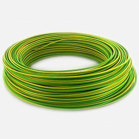 Fil rigide 1.5 mm² vert jaune H07VU 25 ml