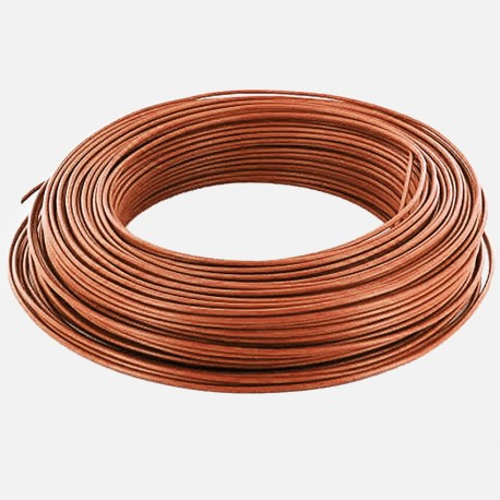 Fil rigide brun 1.5 mm² H07VU 25 mètres