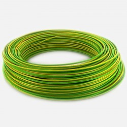 Fil rigide 2.5 mm² vert jaune H07VU 25 mètres
