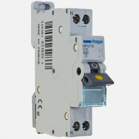 Disjoncteur phase neutre 10A à vis Hager