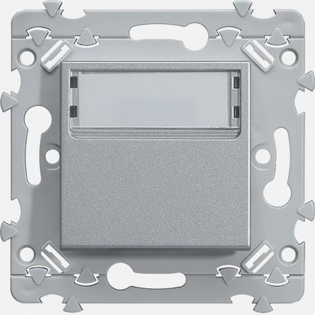 Essensya bouton poussoir porte-étiquette 1O+1F Titane WE025T Hager