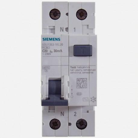 Disjoncteur différentiel 20A 30 ma Siemens 5SU1353-1KL20
