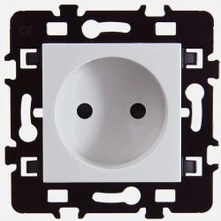 Prise 2P 16A Eur'ohm série Esprit blanc