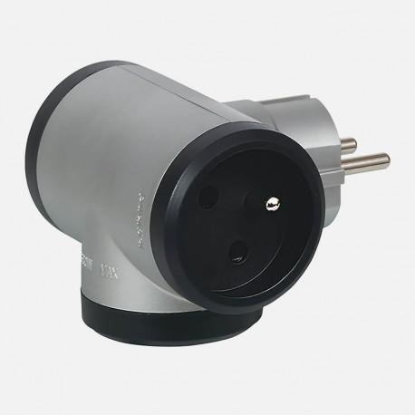 Fiche multiprises alu/noir 2P+T 16A Legrand 50509