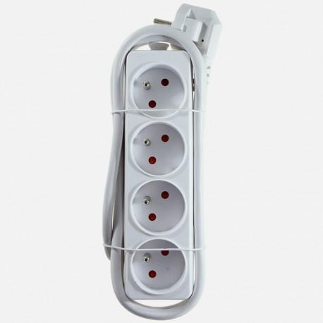 Bloc multiprises 4 entrées blanc cordon 1,5 mètre