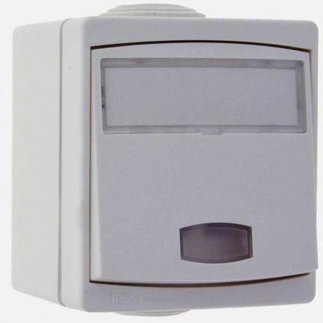 Bouton poussoir porte étiquette lumineux étanche blanc Eurohm