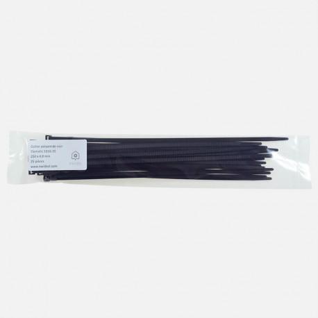 Collier de câblage polyamide noir Elématic 4,8x250 mm sachet de 50 colliers.