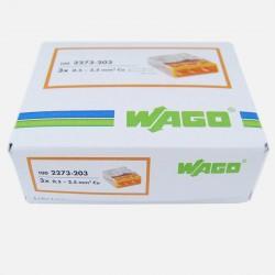 Borne wago 3 fils série 2273, 3x 0,5 à 2,5 mm², colisage de 100 pièces