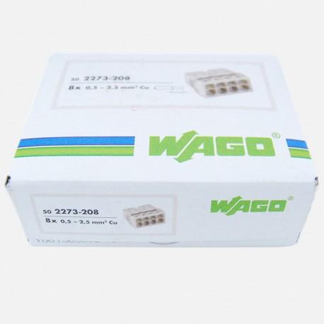 Borne wago série 2273 , 8 fils de 0.5 à 2.5 mm² colisage de 50 pièces