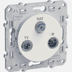 Prise TV FM SAT blanche Odace S520461