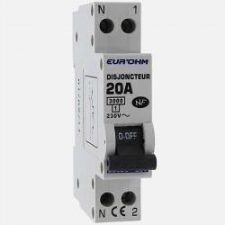 Disjoncteur PH+N connexion à vis 20 A - 230 volts Eurohm