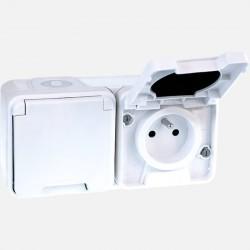 Double prise blanche étanche 2P+T IP55 Oxxo 60851