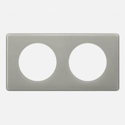 066602 Plaque Céliane Laqué 2 postes - finition Gris perle