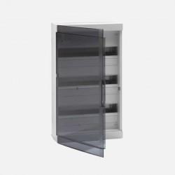Coffret 3 rangées 18 modules avec porte transparente