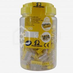Connecteur rapide Eur'ohm Fastlock 5 fils de 1.5 à 2.5 mm² colisage de 100 pièces