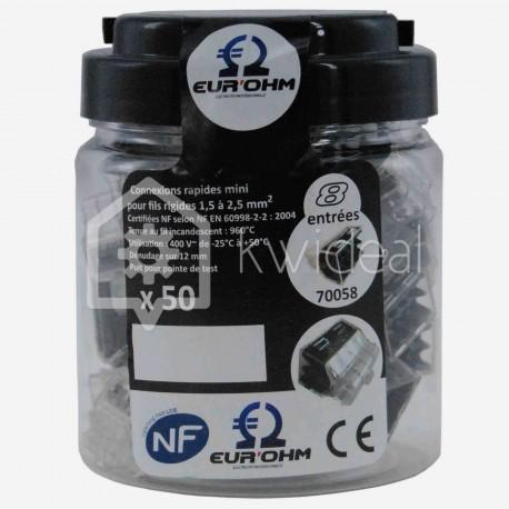 Connecteur Fas lock Eur'ohm 8 fils de 1.5 à 2.5 mm² colisage de 50 pièces