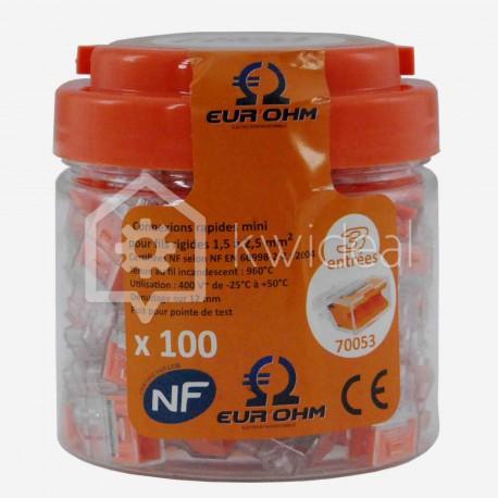 Connecteur rapide Fast Lock Eur'ohm 3 fils 1.5 à 2.5 mm²