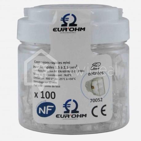 Connecteur rapide Eur'ohm Fastlock 2 fils de 1.5 à 2.5 mm² colisage de 100 pièces