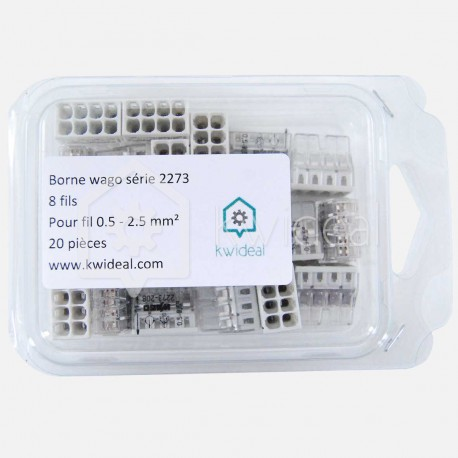Borne wago série 2273 , 8 fils de 0.5 à 2.5 mm² colisage de 20 pièces