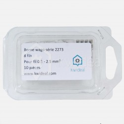 Borne wago série 2273 , 8 fils de 0.5 à 2.5 mm² colisage de 10 pièces