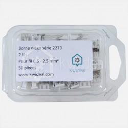 Borne wago série 2273, 2 fils de 0,5 à 2,5 mm² colisage de 50 pièces