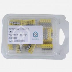 Borne wago série 2273, 5 fils de 0,5 à 2,5 mm² colisage de 25 pièces